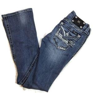 Miss Me boot cut stripe rhinestone blue jeans 26